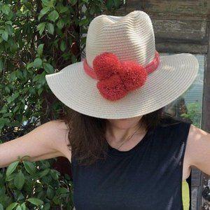 Pom Pom Braided Hat Band Dusty Pink